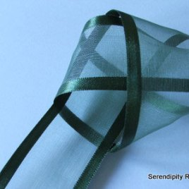 Hunter Green Organza ribbon with satin edge