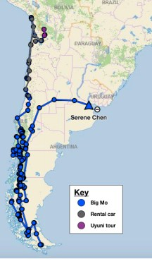 Map of my journey through Chile, Argentina and Bolivia.