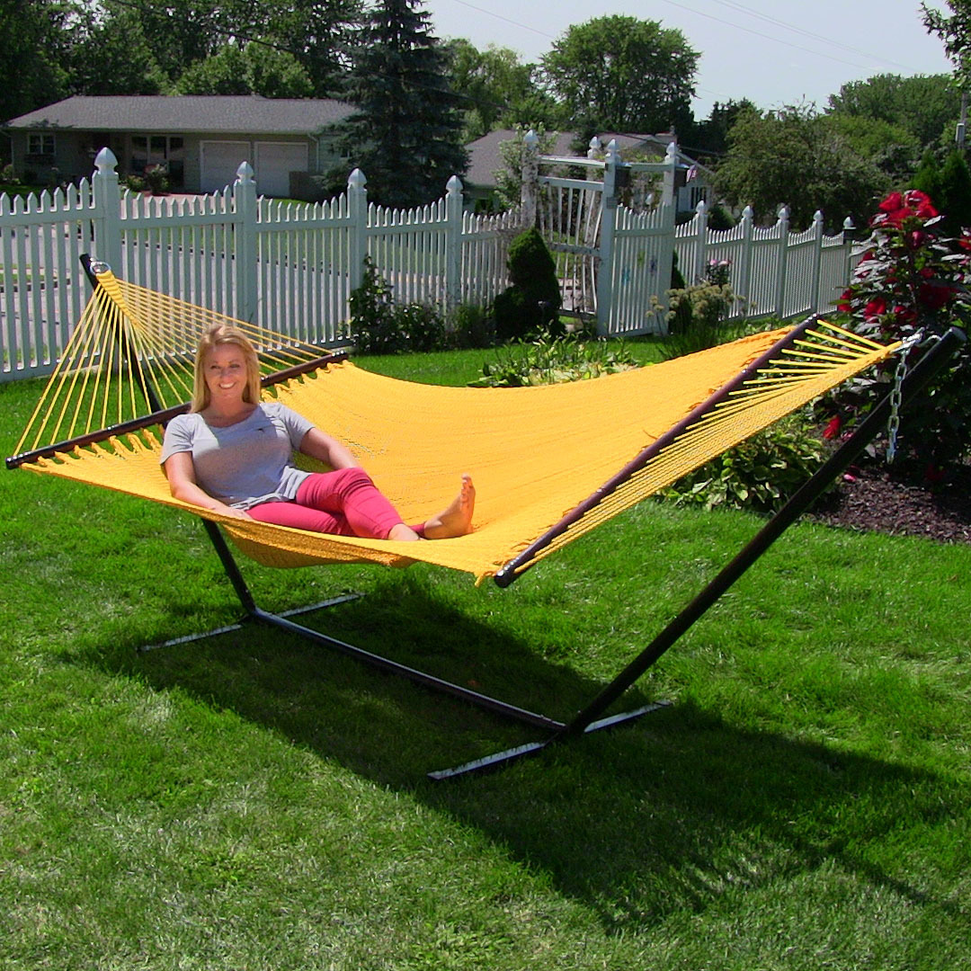 Large 2 Person Rope Hammock W Spreader Bar Soft Spun