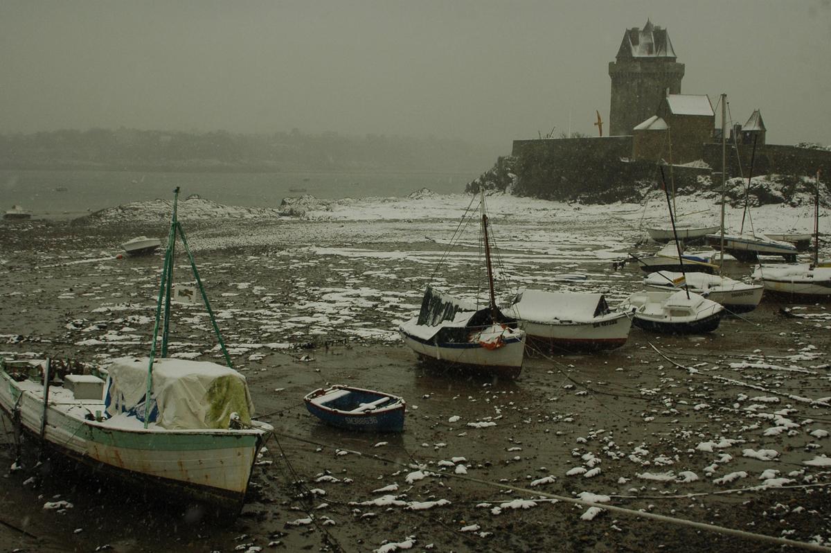 La plage de solidor, sous la neige - Serge Ducout - Photographie