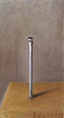 Schilderij Spijker, olieverf op paneel, 9 x 5 cm, Serge de Vries