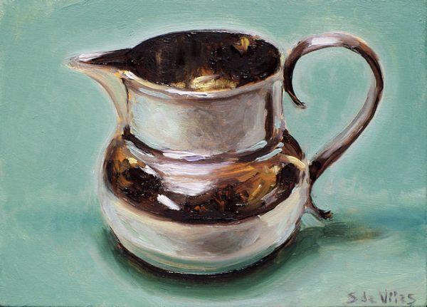 Kan nr5, groene achterrgrond, olieverf op paneel, 13 x 18 cm, Serge de Vries