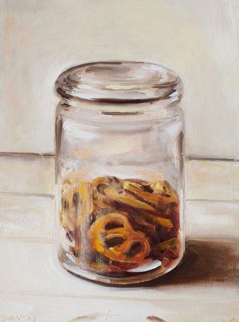 Schilderij Pot met krakelingen, olieverf op paneel, 24 x 18 cm, Serge de Vries