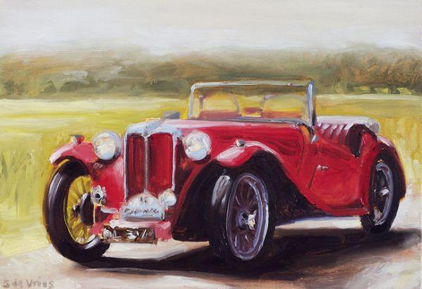 Schilderij Oldtimer MG TC, olieverf op paneel, 18 x 24 cm, Serge de Vries