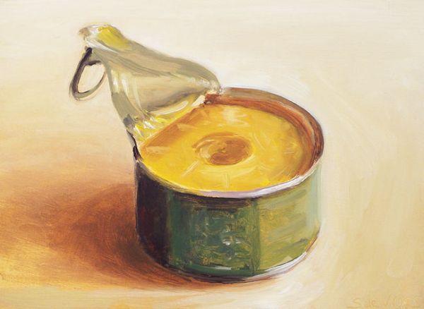 Schilderij Blikje ananas, olieverf op paneel, 13 x 18 cm, Serge de Vries
