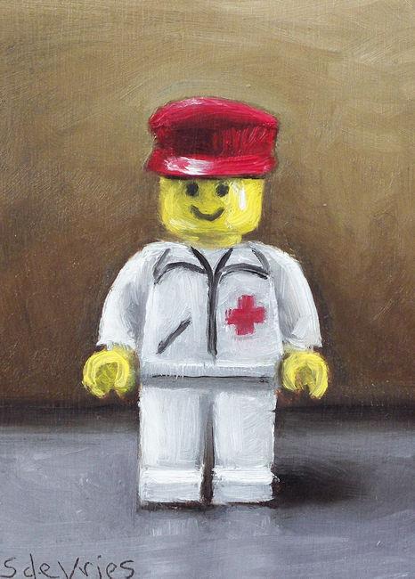 Schilderij Legopoppetje, olieverf op paneel, 7 x 5 cm, Serge de Vries