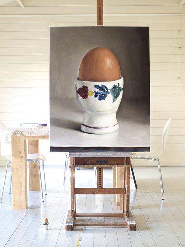 Interieur schilderij Gekookt ei, olieverf op doek, 100 x 80 cm, Serge de Vries