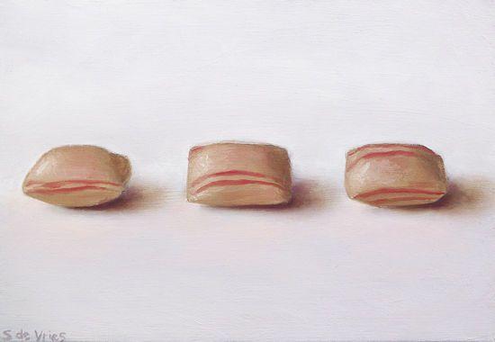 Schilderij Kaneel snoepjes, olieverf op paneel, 9,5 x 14 cm, Serge de Vries