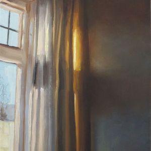 Schilderij Gordijnen nr2, olieverf op paneel, 13 x 17 cm, Serge de Vries