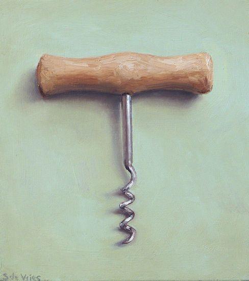 Schilderij kurkentrekker, olieverf op paneel, 13 x 14,5 cm, Serge de Vries