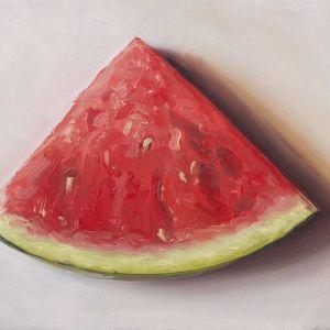 Schilderij Meloen, olieverf op paneel, 13 x 18 cm, Serge de Vries