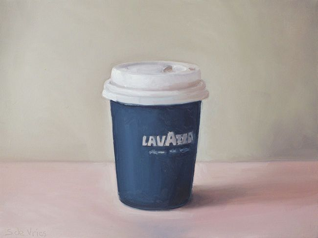 Schilderij Lavazza beker, olieverf op paneel, 16 x 21 cm, Serge de Vries