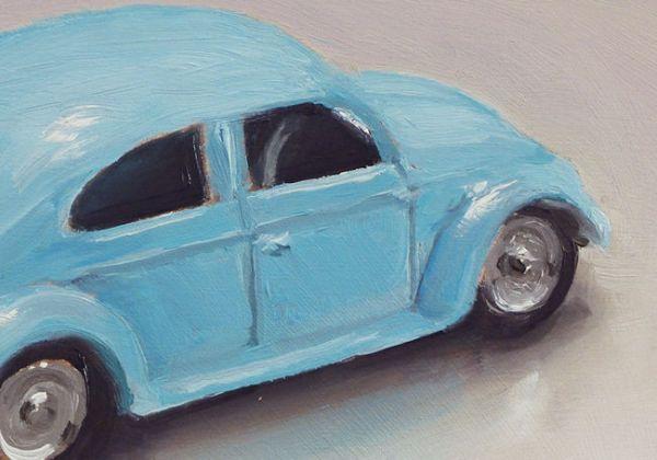 Detail schilderij Dinky toy nr10, volkswagen, olieverf op paneel, 9 x 13 cm, Serge de Vries