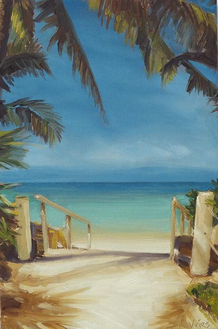 Schilderij Strand nr2, olieverf op paneel, 21 x 14 cm, Serge de Vries
