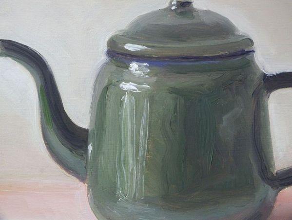 Detail schilderij Groene theepot, olieverf op paneel, 16 x 21 cm, Serge de Vries