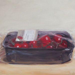Kerstomaten, olieverf op paneel, 14 x 18 cm, Serge de Vries