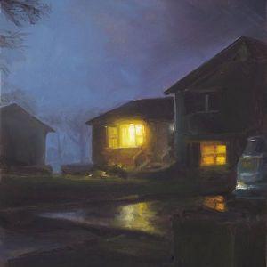 Oprit in de nacht, olieverf op paneel, 19 x 15 cm, Serge de Vries