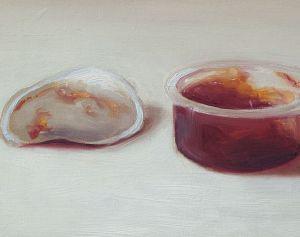 Detail schilderij Kuipje jam nr2, olieverf op paneel, 11 x 14 cm, Serge de Vries