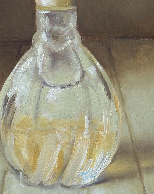 Detail Parfumfles nr5, olieverf op paneel, 16 x 12 cm, Serge de Vries