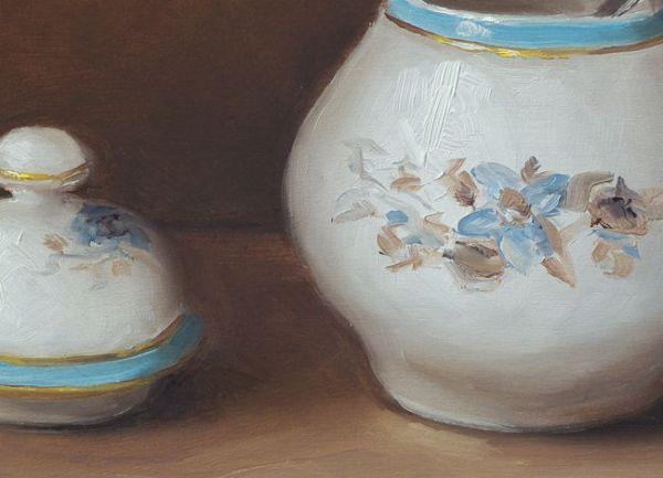 Detail Porseleinen suikerpot, olieverf op paneel, 13 x 18 cm, Serge de Vries