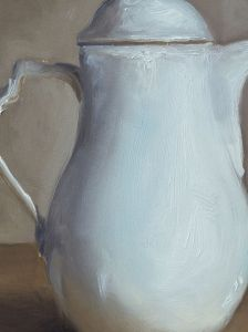 Detail schilderij Witte kan, olieverf op paneel, 16 x 20 cm, Serge de Vries