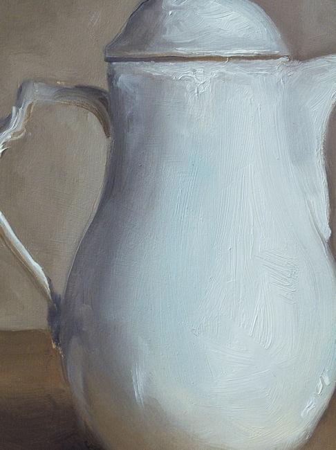 Detail Witte kan, olieverf op paneel, 16 x 20 cm, Serge de Vries