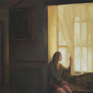 Vrouw en gordijnen, olieverf op paneel, 14 x 21 cm, Serge de vries