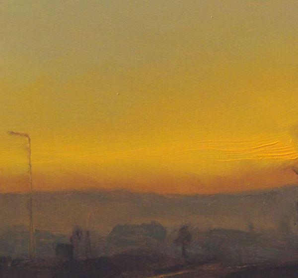 Detail 1 Spoorlijn, olieverf op paneel, 16,5 x 15,5 cm, Serge de Vries