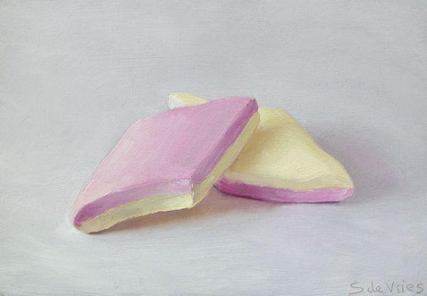 Spekjes, olieverf op paneel, 11 x 16 cm, Serge de Vries