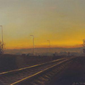 Spoorlijn, olieverf op paneel, 16,5 x 15,5 cm, Serge de Vries