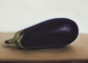 Aubergine, olieverf op paneel, 15 x 20,5 cm, Serge de Vries