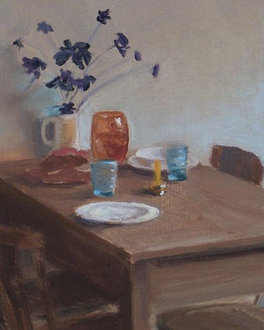 Detail Gedekte tafel, olie op paneel, 19 x 15 cm, Serge de Vries