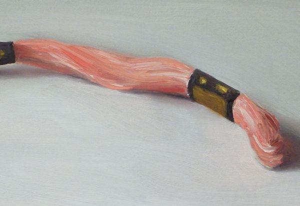 Detail Borduurgaren, olieverf op paneel, 12,5 x 18 cm, Serge de Vries