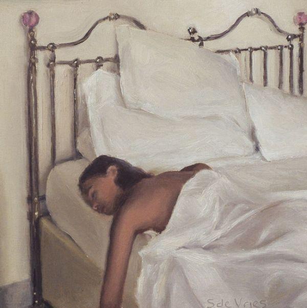 Detail Slapende vrouw, olieverf op paneel, 16 x 16 cm, Serge de Vries