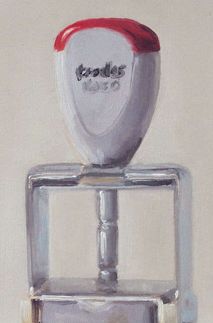 Detail Stempel, olieverf op paneel, 18 x 12 cm, Serge de Vries