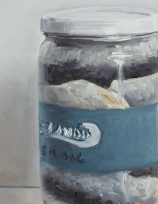 Detail Haring in een pot, olieverf op paneel, 19 x 15 cm, Serge de Vries