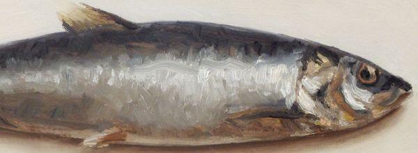 Detail Haring, olieverf op paneel, 9 x 24,5, Serge de Vries