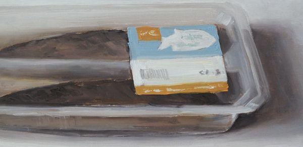 Detail Haring verpakt, olieverf op paneel, 14,5 x 30 cm, Serge de Vries