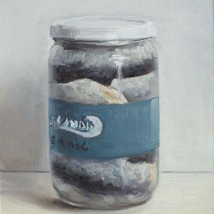 Haring in een pot, olieverf op paneel, 19 x 15 cm, Serge de Vries
