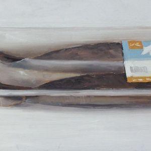 Haring verpakt, olieverf op paneel, 14,5 x 30 cm, Serge de Vries