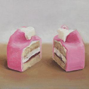Kasteelgebakje in tweeën, olieverf op paneel, 13 x 18 cm, Serge de Vries