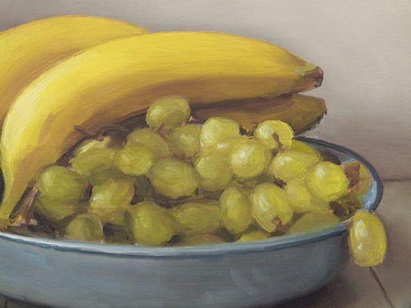 Detail Bananen en druiven, olieverf op paneel, 17,5 x 23 cm, Serge de Vries