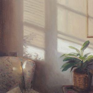 Stoel en zonlicht, olieverf op paneel, 16 x 16 cm, Serge de Vries