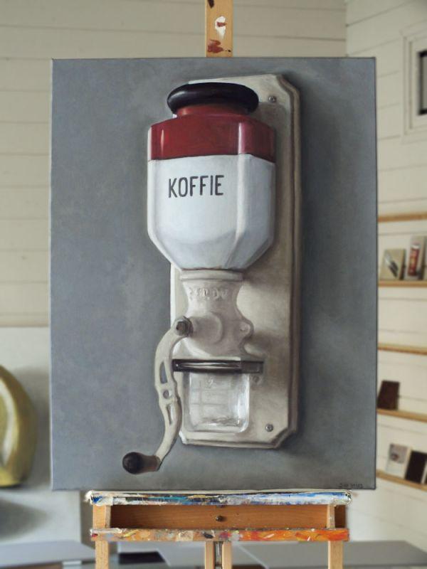 Koffiemolen nr3 op de ezel, olieverf op doek, 80 x 60 cm, Serge de Vries