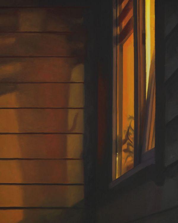 Detail 1 Voordeur bij avond xxl, olieverf op linnen, 160 x 130 cm, Serge de Vries