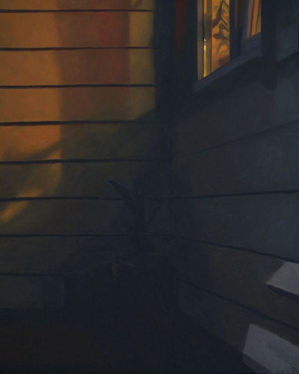 Detail 2 Voordeur bij avond xxl, olieverf op linnen, 160 x 130 cm, Serge de Vries
