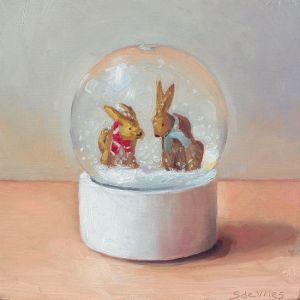 Sneeuwbol, olieverf op paneel, 12,5 x 12,5 cm, Serge de Vries