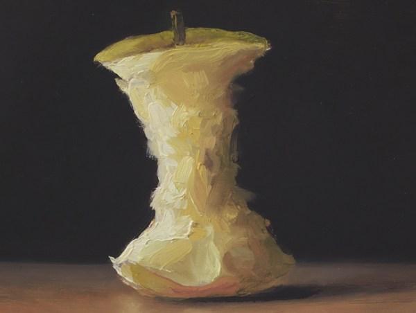 Detail Klokhuis, olieverf op paneel, 13 x 16,5 cm, Serge de Vries