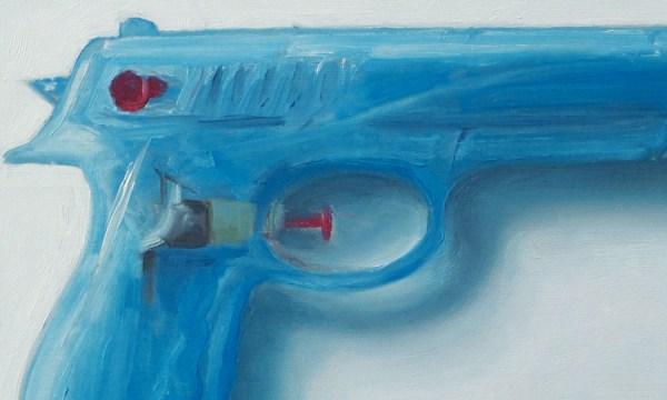 Detail Waterpistool nr2, olieverf op paneel, 13 x 20 cm, Serge de Vries