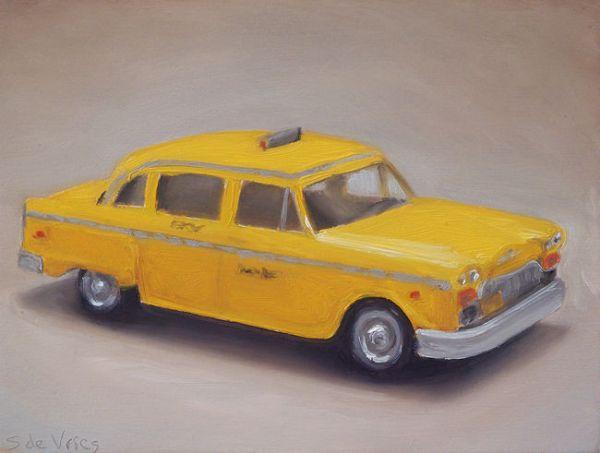 Dinky toy nr12, taxi, olieverf op paneel, 13 x 17 cm, Serge de Vries